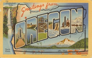 Old Postcard - Greetings From Oregon with Oregon Mountains