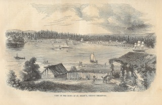 Old 1852 postcard picture showing Mt. St. Helens